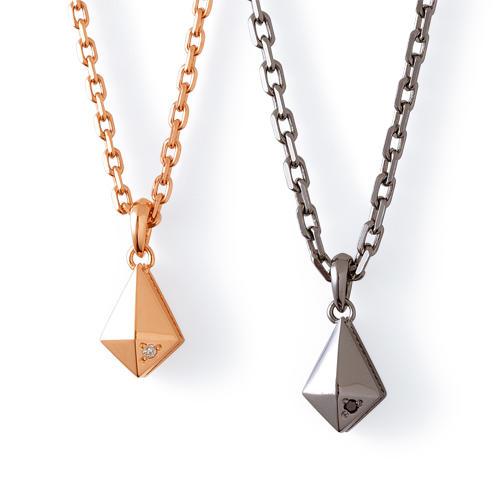 【THE KISS BLACK】ダイヤモンド ピンク&ブラックコーティング シルバー ペアネックレス
