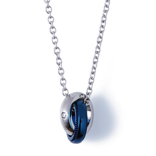ダイヤモンド ブルーイオンプレーティング ステンレス メッセージ レディース ネックレス 40cm