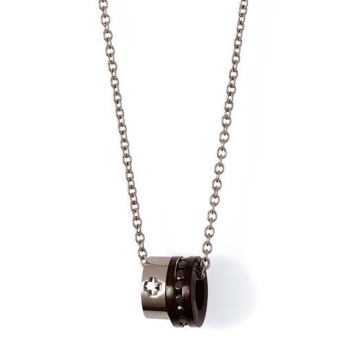 キュービックジルコニア ブラックイオンプレーティング ステンレス メンズ ネックレス 50cm